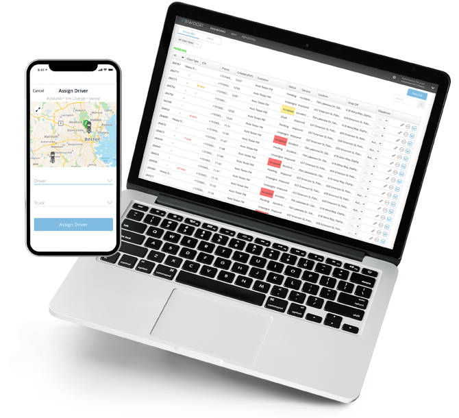 Swoop Dispatch Management Accept Dashboard & Assign Driver by Agero